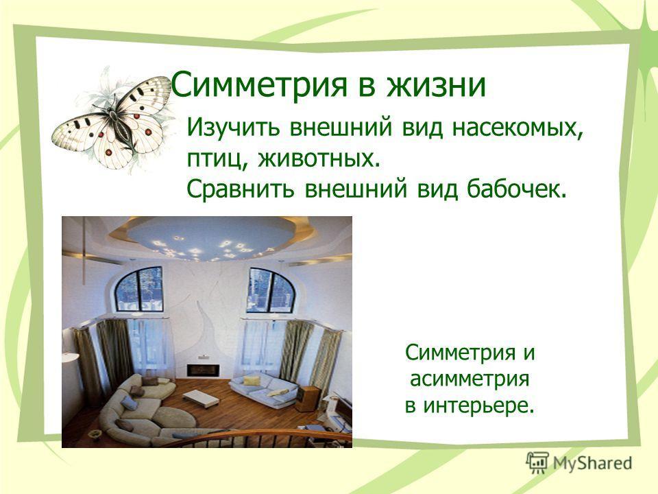 Симметрия в жизни Изучить внешний вид насекомых, птиц, животных. Сравнить внешний вид бабочек. Симметрия и асимметрия в интерьере.