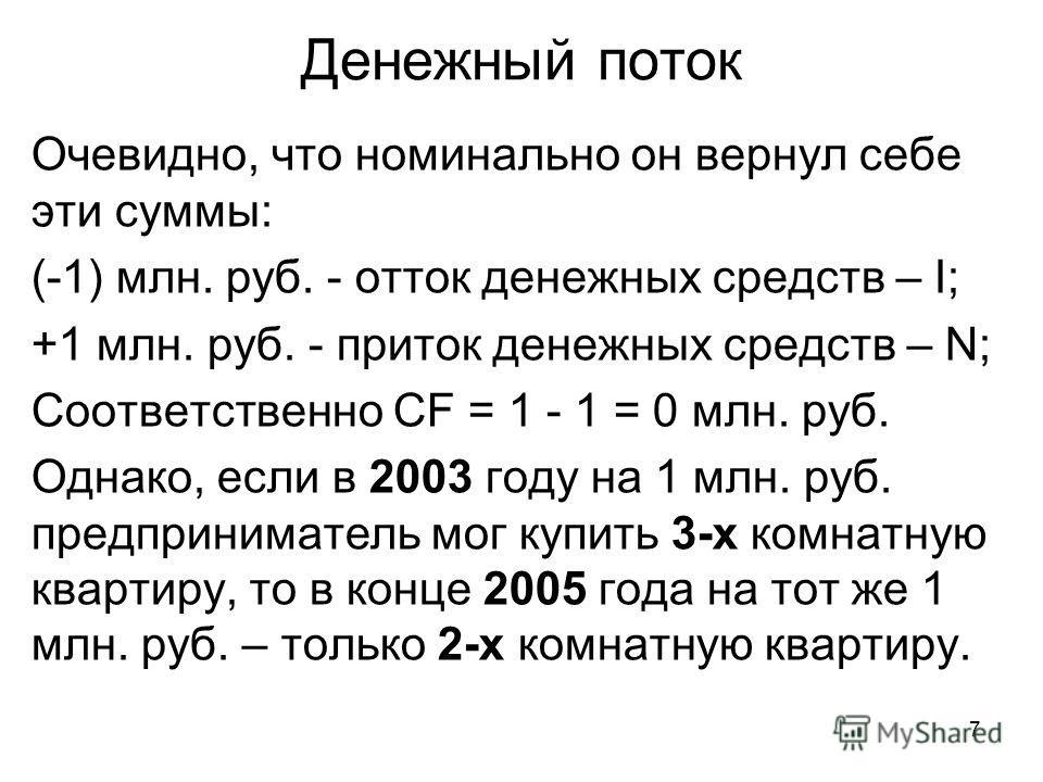 7 Денежный поток Очевидно, что номинально он вернул себе эти суммы: (-1) млн. руб. - отток денежных средств – I; +1 млн. руб. - приток денежных средств – N; Соответственно CF = 1 - 1 = 0 млн. руб. Однако, если в 2003 году на 1 млн. руб. предпринимате