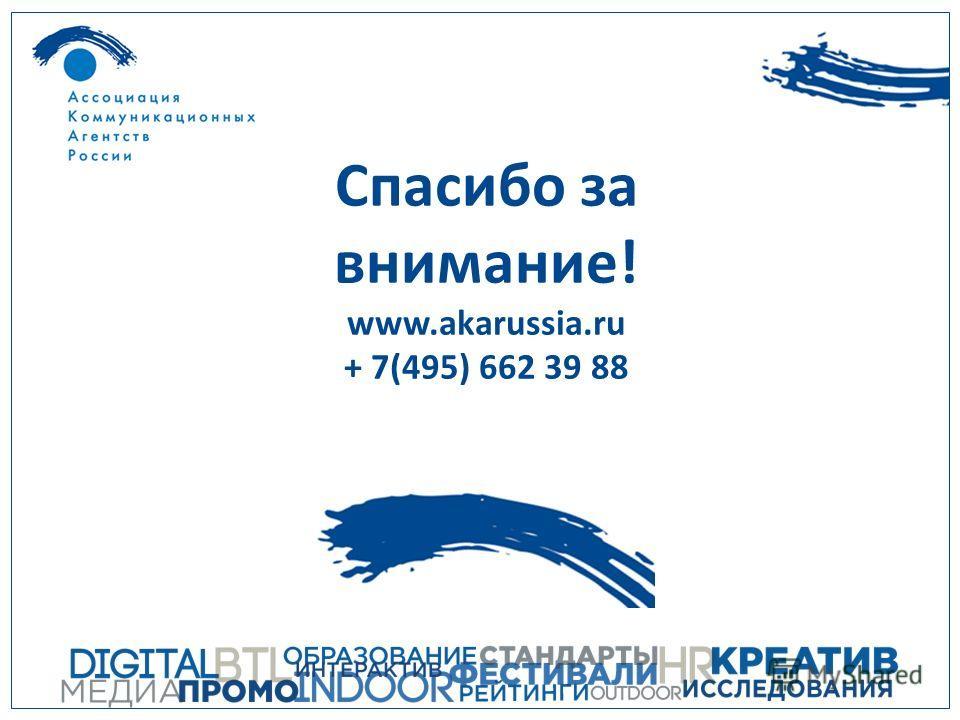 Спасибо за внимание! www.akarussia.ru + 7(495) 662 39 88