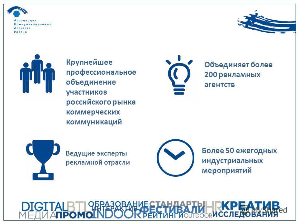 Более 50 ежегодных индустриальных мероприятий Крупнейшее профессиональное объединение участников российского рынка коммерческих коммуникаций Объединяет более 200 рекламных агентств Ведущие эксперты рекламной отрасли