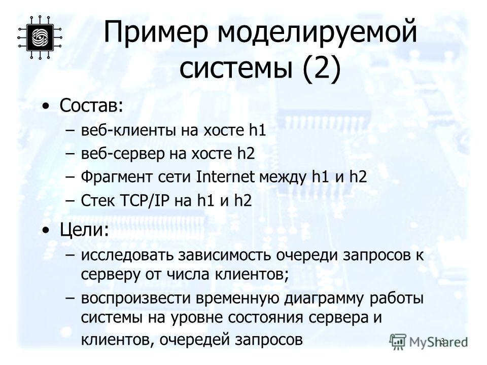 Пример моделируемой системы (2) 3 Состав: –веб-клиенты на хосте h1 –веб-сервер на хосте h2 –Фрагмент сети Internet между h1 и h2 –Стек TCP/IP на h1 и h2 Цели: –исследовать зависимость очереди запросов к серверу от числа клиентов; –воспроизвести време