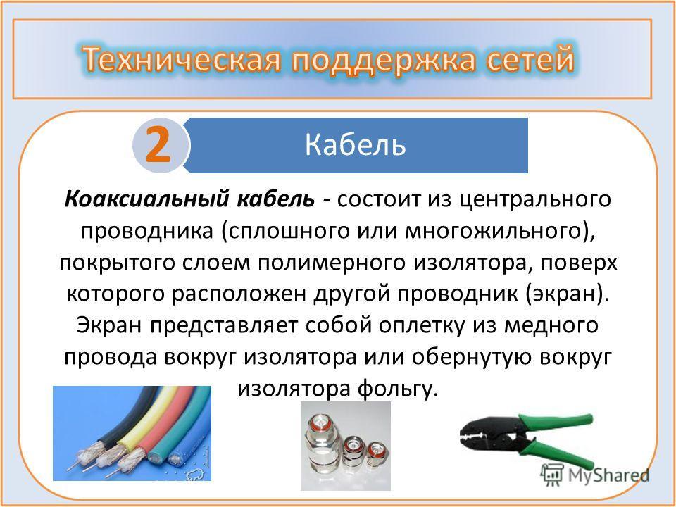 Кабель 2 Коаксиальный кабель - состоит из центрального проводника (сплошного или многожильного), покрытого слоем полимерного изолятора, поверх которого расположен другой проводник (экран). Экран представляет собой оплетку из медного провода вокруг из