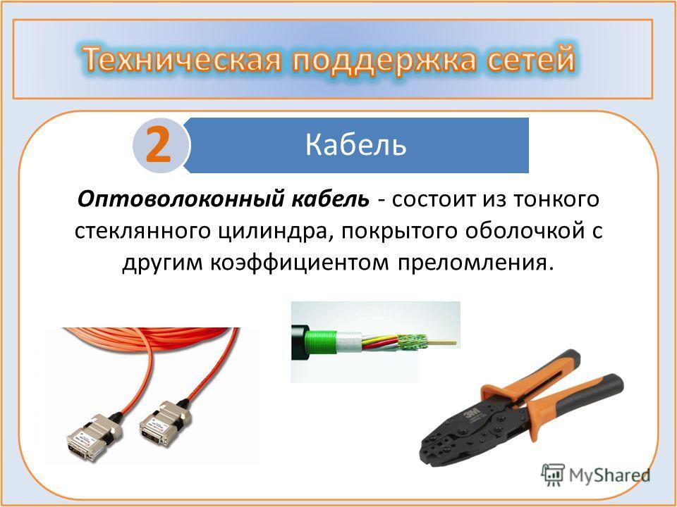 Кабель 2 Оптоволоконный кабель - состоит из тонкого стеклянного цилиндра, покрытого оболочкой с другим коэффициентом преломления.