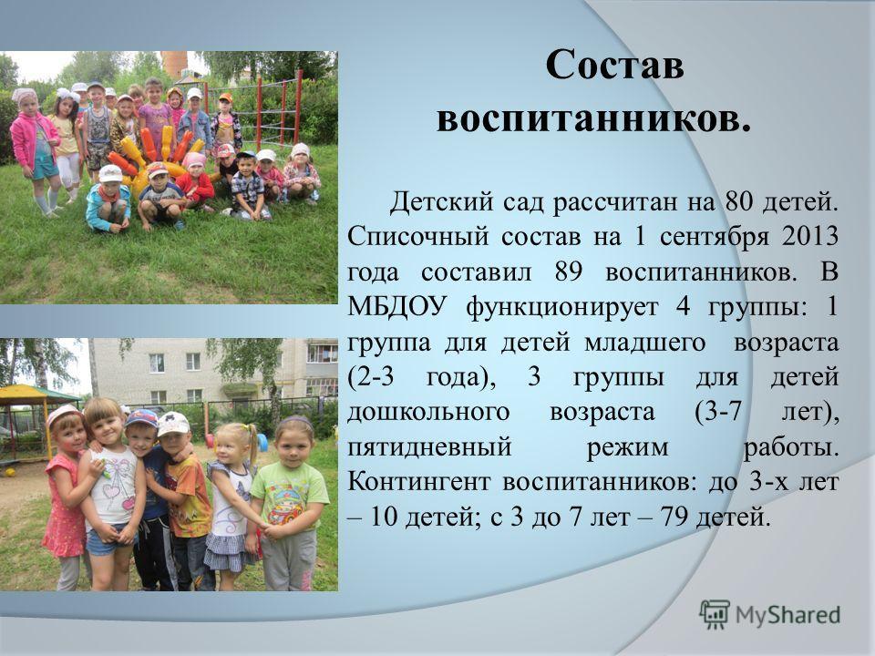 Состав воспитанников. Детский сад рассчитан на 80 детей. Списочный состав на 1 сентября 2013 года составил 89 воспитанников. В МБДОУ функционирует 4 группы: 1 группа для детей младшего возраста (2-3 года), 3 группы для детей дошкольного возраста (3-7