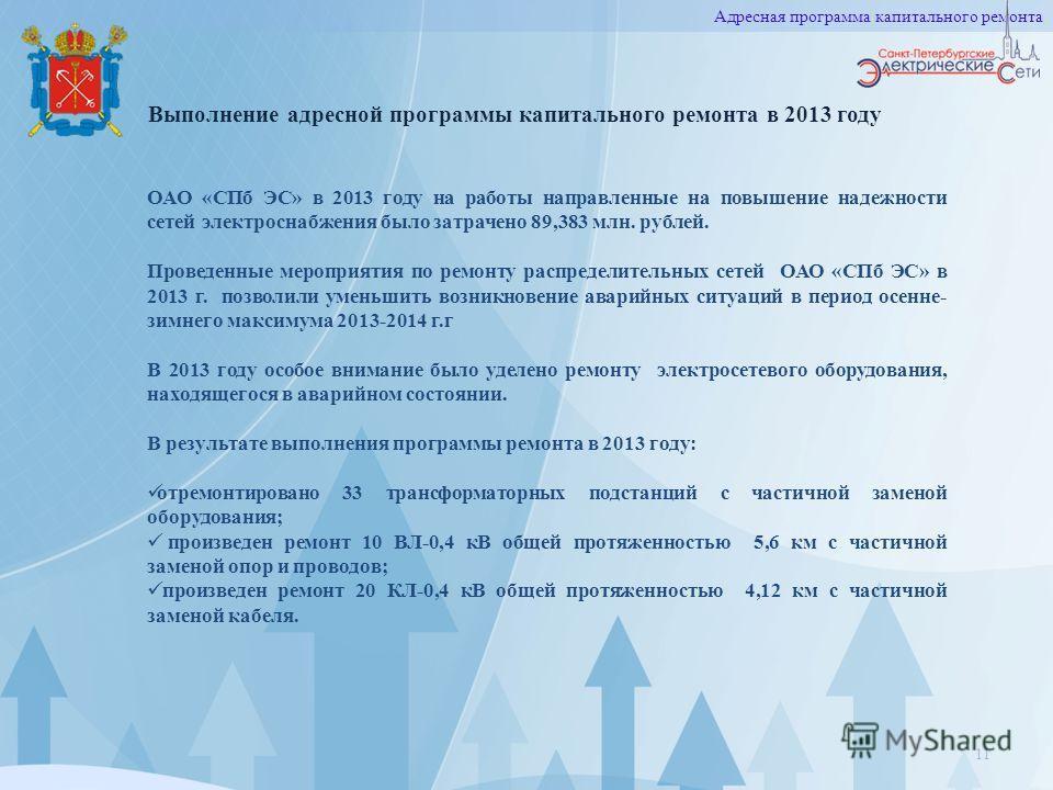 Выполнение адресной программы капитального ремонта в 2013 году 11 Адресная программа капитального ремонта ОАО «СПб ЭС» в 2013 году на работы направленные на повышение надежности сетей электроснабжения было затрачено 89,383 млн. рублей. Проведенные ме