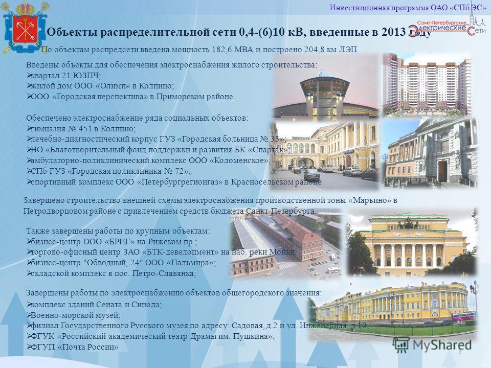 8 Объекты распределительной сети 0,4-(6)10 кВ, введенные в 2013 году Завершено строительство внешней схемы электроснабжения производственной зоны «Марьино» в Петродворцовом районе с привлечением средств бюджета Санкт-Петербурга. Введены объекты для о