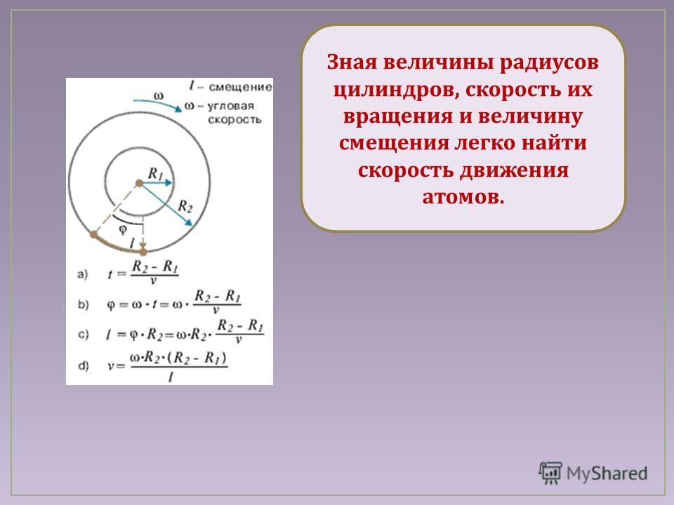 Зная величины радиусов цилиндров, скорость их вращения и величину смещения легко найти скорость движения атомов.