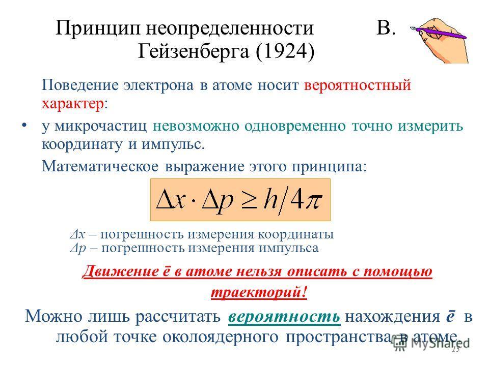 Принцип неопределенности В. Гейзенберга (1924) Поведение электрона в атоме носит вероятностный характер: у микрочастиц невозможно одновременно точно измерить координату и импульс. Математическое выражение этого принципа: Δх – погрешность измерения ко
