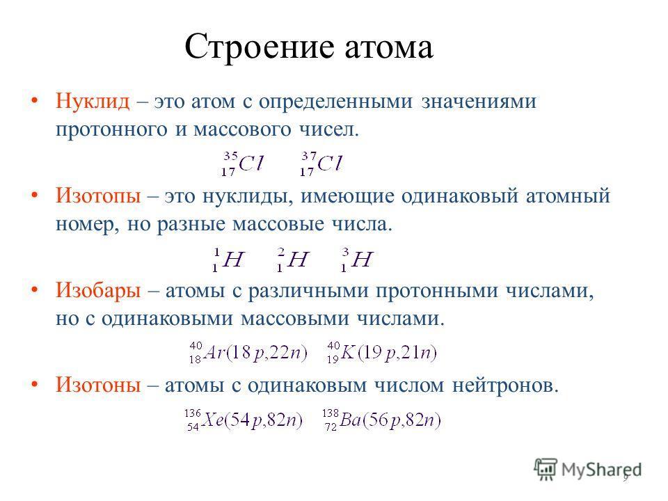 Строение атома Нуклид – это атом с определенными значениями протонного и массового чисел. Изотопы – это нуклиды, имеющие одинаковый атомный номер, но разные массовые числа. Изобары – атомы с различными протонными числами, но с одинаковыми массовыми ч