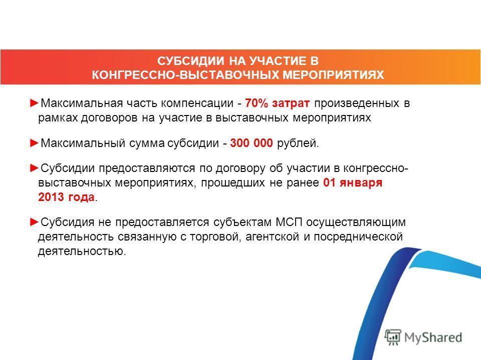 Максимальная часть компенсации - 70% затрат произведенных в рамках договоров на участие в выставочных мероприятиях Максимальный сумма субсидии - 300 000 рублей. Субсидии предоставляются по договору об участии в конгресснойй- выставочных мероприятиях,