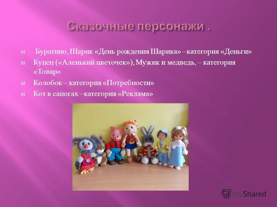 Буратино, Шарик « День рождения Шарика » – категория « Деньги » Купец (« Аленький цветочек »), Мужик и медведь, – категория « Товар » Колобок – категория « Потребности » Кот в сапогах – категория « Реклама »