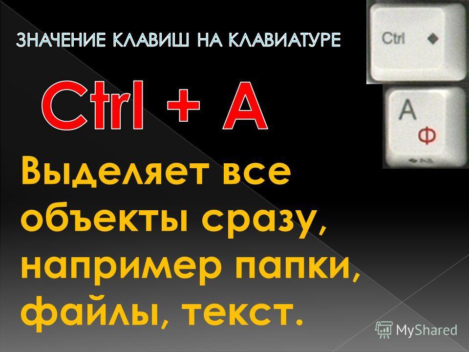 Выделяет все объекты сразу, например папки, файлы, текст.