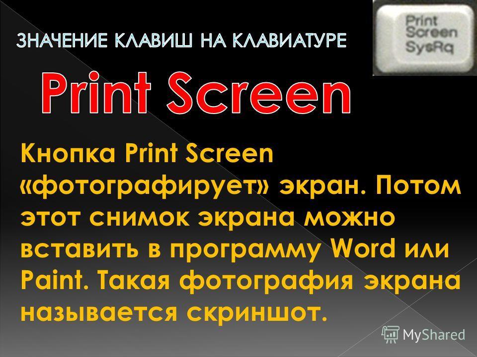 Кнопка Print Screen «фотографирует» экран. Потом этот снимок экрана можно вставить в программу Word или Paint. Такая фотография экрана называется скриншот.