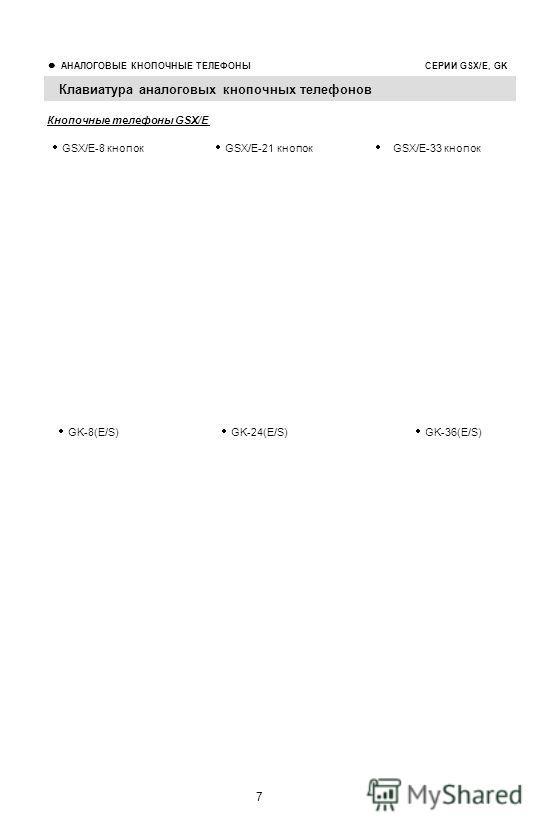 7 АНАЛОГОВЫЕ КНОПОЧНЫЕ ТЕЛЕФОНЫ СЕРИИ GSX/E, GK Клавиатура аналоговых кнопочных телефонов Кнопочные телефоны GSX/E GSX/E-8 кнопок GSX/E-21 кнопок GSX/E-33 кнопок GK-8(E/S) GK-24(E/S) GK-36(E/S)