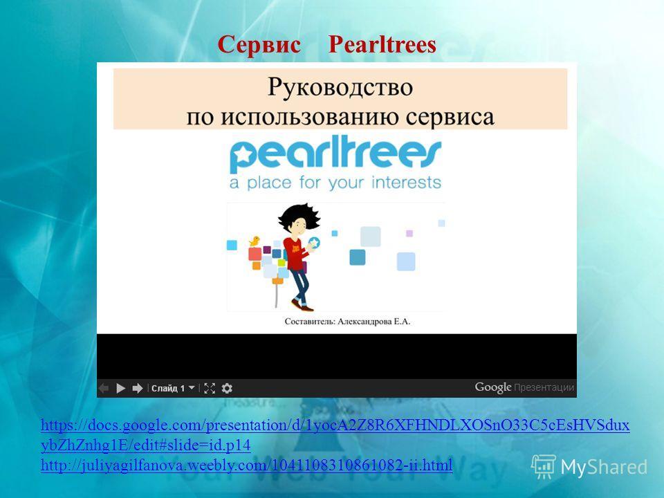 Сервис Pearltrees https://docs.google.com/presentation/d/1yocA2Z8R6XFHNDLXOSnO33C5cEsHVSdux ybZhZnhg1E/edit#slide=id.p14 http://juliyagilfanova.weebly.com/1041108310861082-ii.html