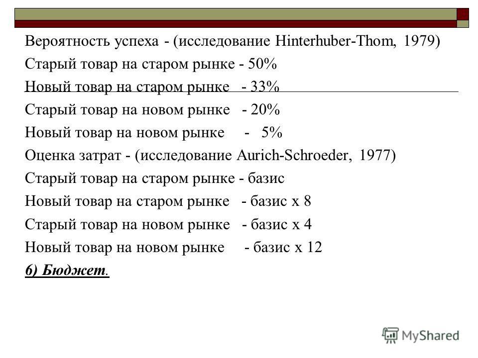 Вероятность успеха - (исследование Hinterhuber-Thom, 1979) Старый товар на старом рынке - 50% Новый товар на старом рынке - 33% Старый товар на новом рынке - 20% Новый товар на новом рынке - 5% Оценка затрат - (исследование Aurich-Schroeder, 1977) Ст