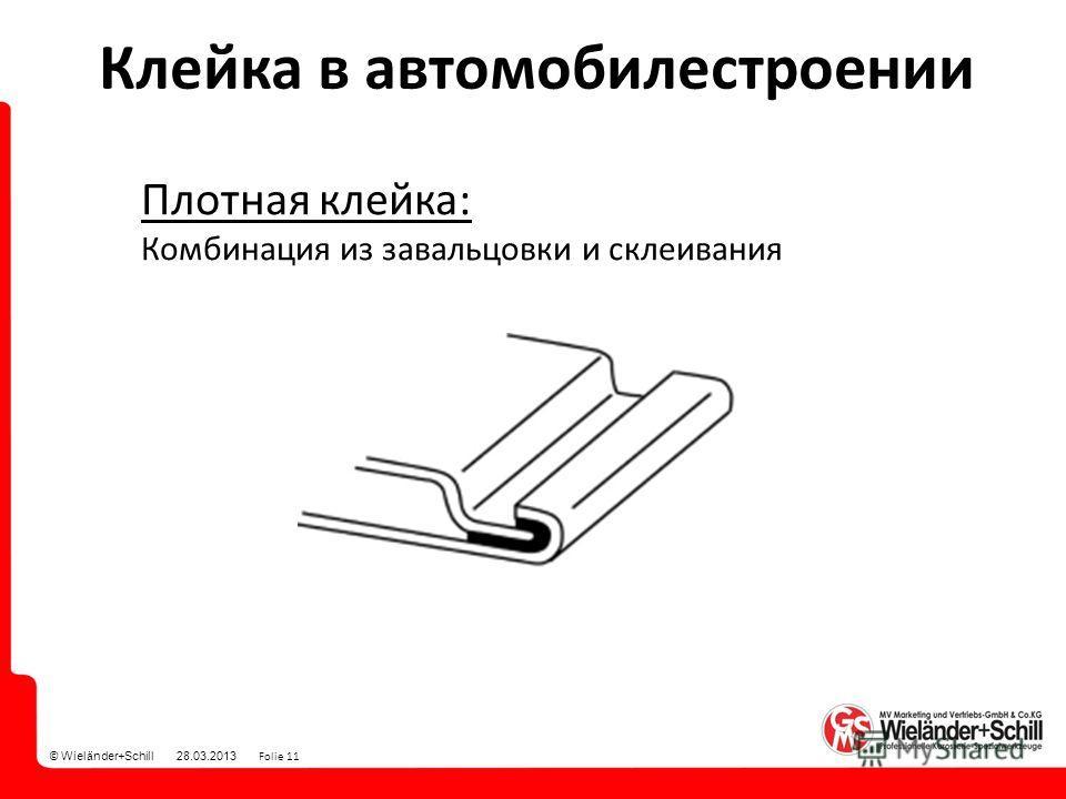 © Wieländer+Schill 28.03.2013 Folie 11 Плотная клейка: Комбинация из завальцовки и склеивания Клейка в автомобилестроении