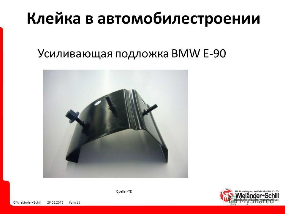 © Wieländer+Schill 28.03.2013 Folie 13 Quelle:KTD Усиливающая подложка BMW E-90 Клейка в автомобилестроении