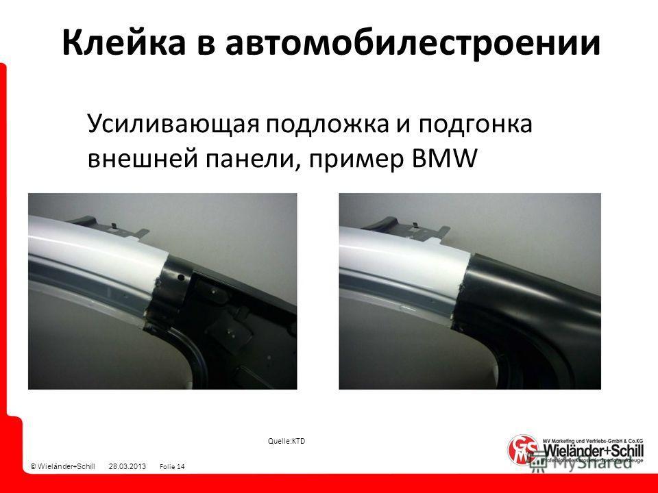 © Wieländer+Schill 28.03.2013 Folie 14 Quelle:KTD Усиливающая подложка и подгонка внешней панели, пример BMW Клейка в автомобилестроении