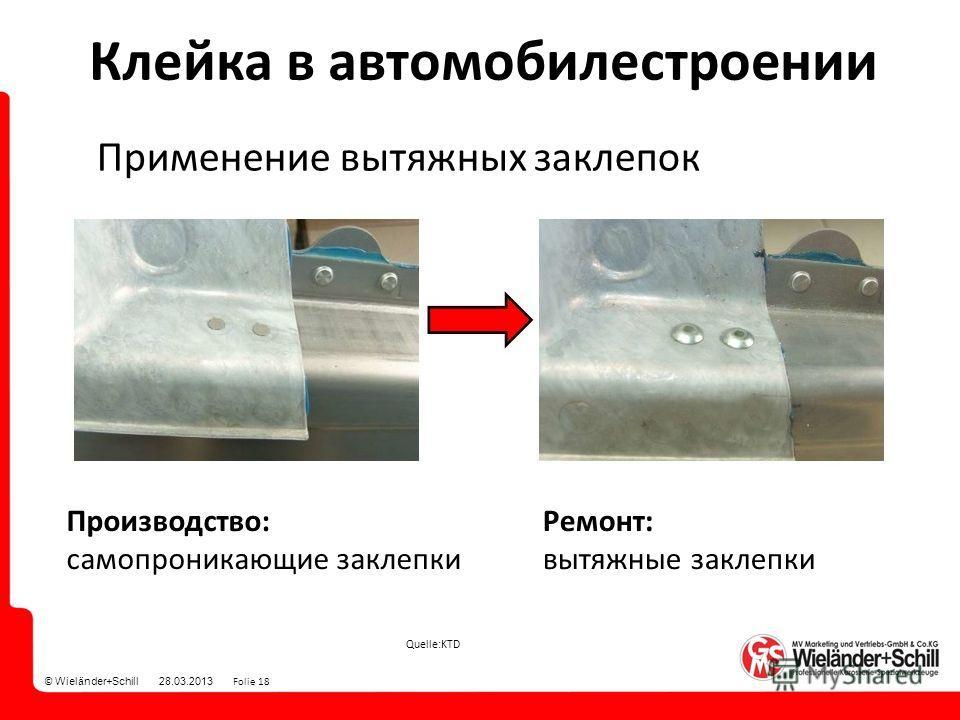 © Wieländer+Schill 28.03.2013 Folie 18 Quelle:KTD Клейка в автомобилестроении Применение вытяжных заклепок Производство: само проникающие заклепки Ремонт: вытяжные заклепки