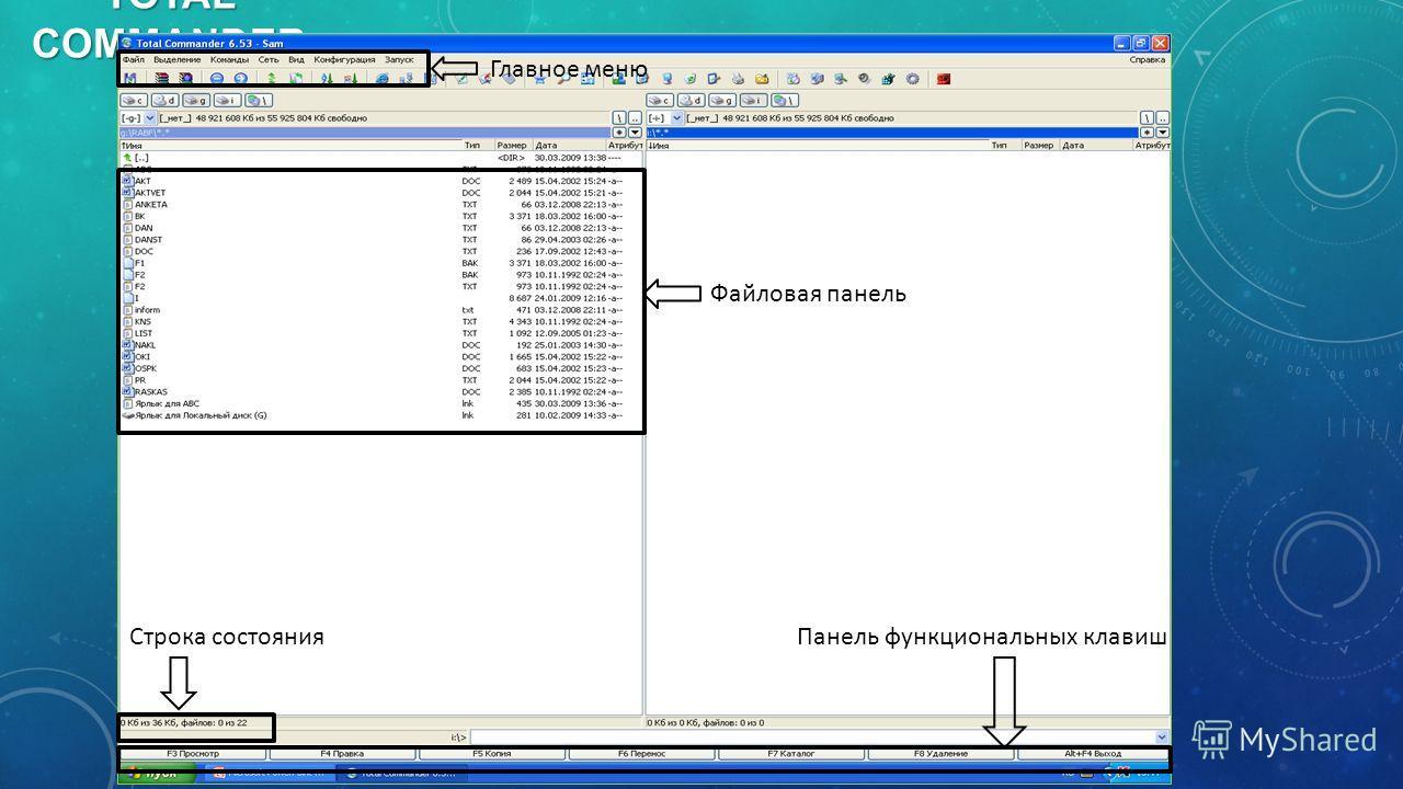 TOTAL COMMANDER Главное меню Файловая панель Панель функциональных клавиш Строка состояния