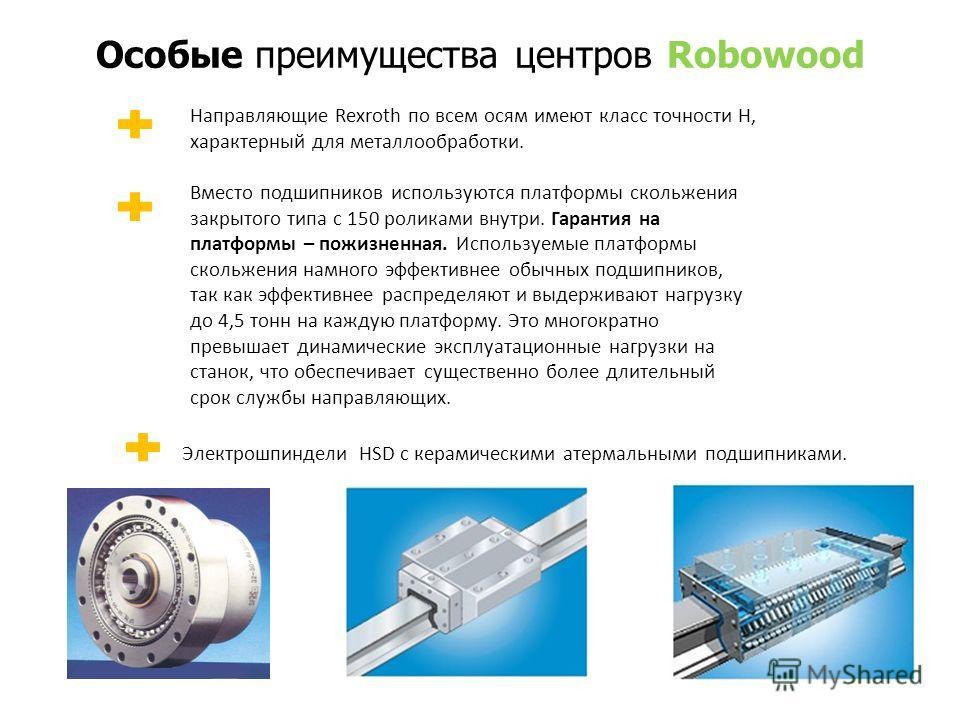 Особые преимущества центров Robowood Направляющие Rexroth по всем осям имеют класс точности H, характерный для металлообработки. Вместо подшипников используются платформы скольжения закрытого типа с 150 роликами внутри. Гарантия на платформы – пожизн