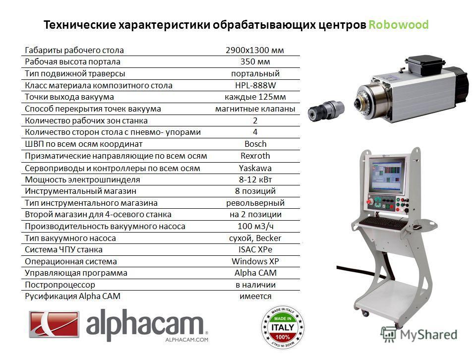 Технические характеристики обрабатывающих центров Robowood