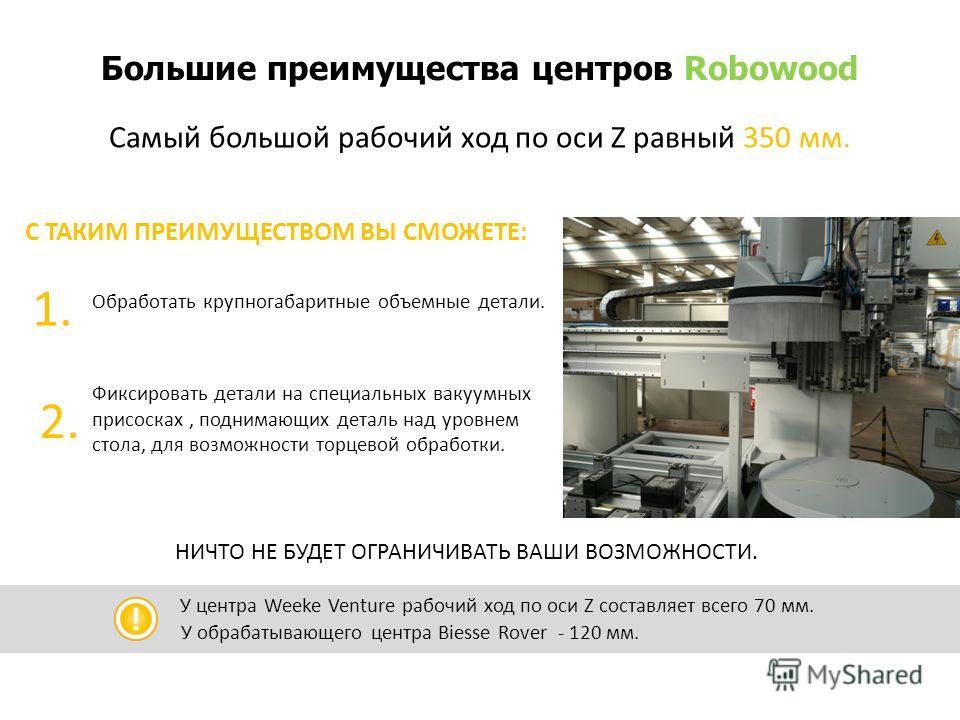 Большие преимущества центров Robowood Самый большой рабочий ход по оси Z равный 350 мм. У центра Weeke Venture рабочий ход по оси Z составляет всего 70 мм. У обрабатывающего центра Biesse Rover - 120 мм. Обработать крупногабаритные объемные детали. 1