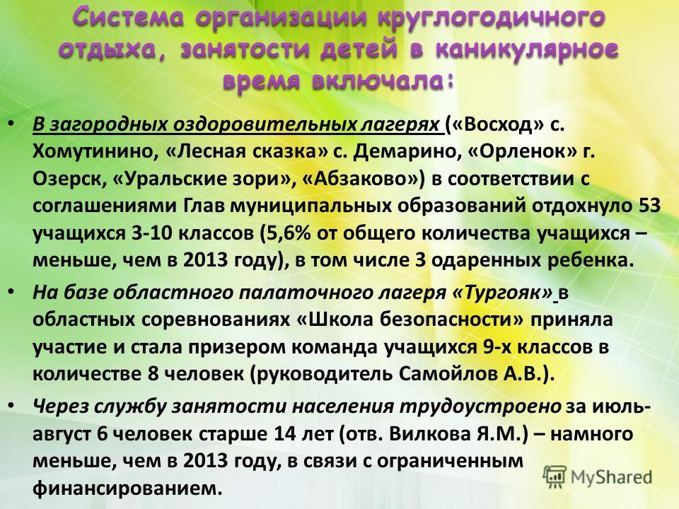 В загородных оздоровительных лагерях («Восход» с. Хомутинино, «Лесная сказка» с. Демарино, «Орленок» г. Озерск, «Уральские зори», «Абзаково») в соответствии с соглашениями Гла в муниципальных образований отдохнуло 53 учащихся 3-10 классов (5,6% от об