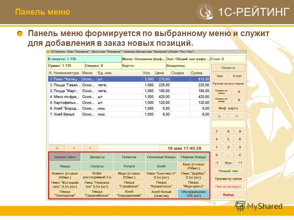1С-РЕЙТИНГ Панель меню формируется по выбранному меню и служит для добавления в заказ новых позиций. Панель меню
