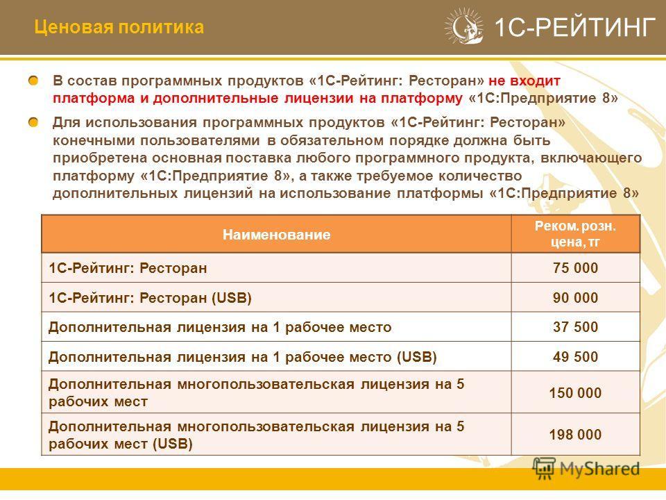 1С-РЕЙТИНГ В состав программных продуктов «1С-Рейтинг: Ресторан» не входит платформа и дополнительные лицензии на платформу «1С:Предприятие 8» Для использования программных продуктов «1С-Рейтинг: Ресторан» конечными пользователями в обязательном поря