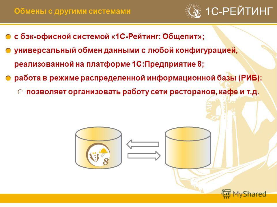 1С-РЕЙТИНГ с бэк-офисной системой «1С-Рейтинг: Общепит»; универсальный обмен данными с любой конфигурацией, реализованной на платформе 1С:Предприятие 8; работа в режиме распределенной информационной базы (РИБ): позволяет организовать работу сети рест