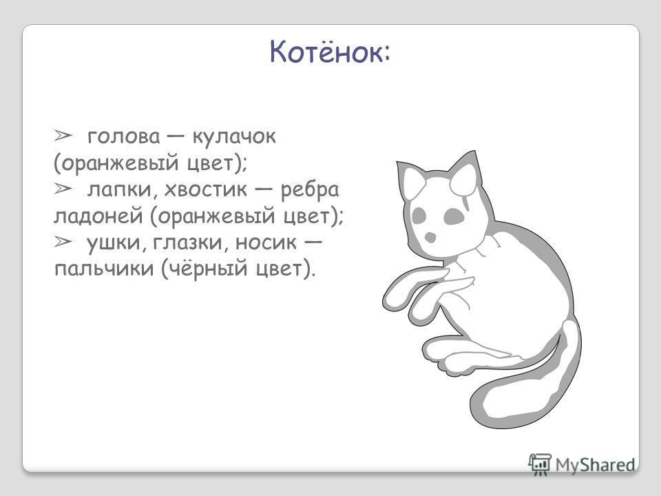 Котёнок: голова кулачок (оранжевый цвет); лапки, хвостик ребра ладоней (оранжевый цвет); ушки, глазки, носик пальчики (чёрный цвет).