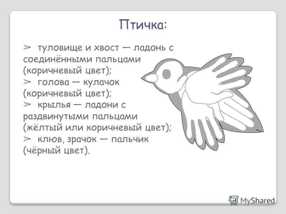 Птичка: туловище и хвост ладонь с соединёнными пальцами (коричневый цвет); голова кулачок (коричневый цвет); крылья ладони с раздвинутыми пальцами (жёлтый или коричневый цвет); клюв, зрачок пальчик (чёрный цвет).