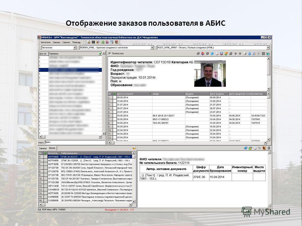 Отображение заказов пользователя в АБИС