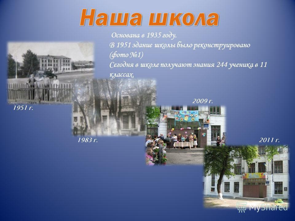 Основана в 1935 году. В 1951 здание школы было реконструировано (фото 1) Сегодня в школе получают знания 244 ученика в 11 классах. 1951 г. 1983 г. 2009 г. 2011 г.