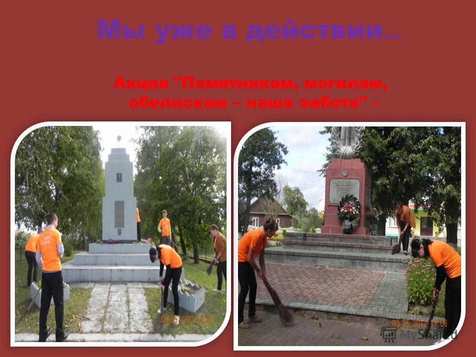 Акция Памятникам, могилам, обелискам – наша забота - Мы уже в действии …