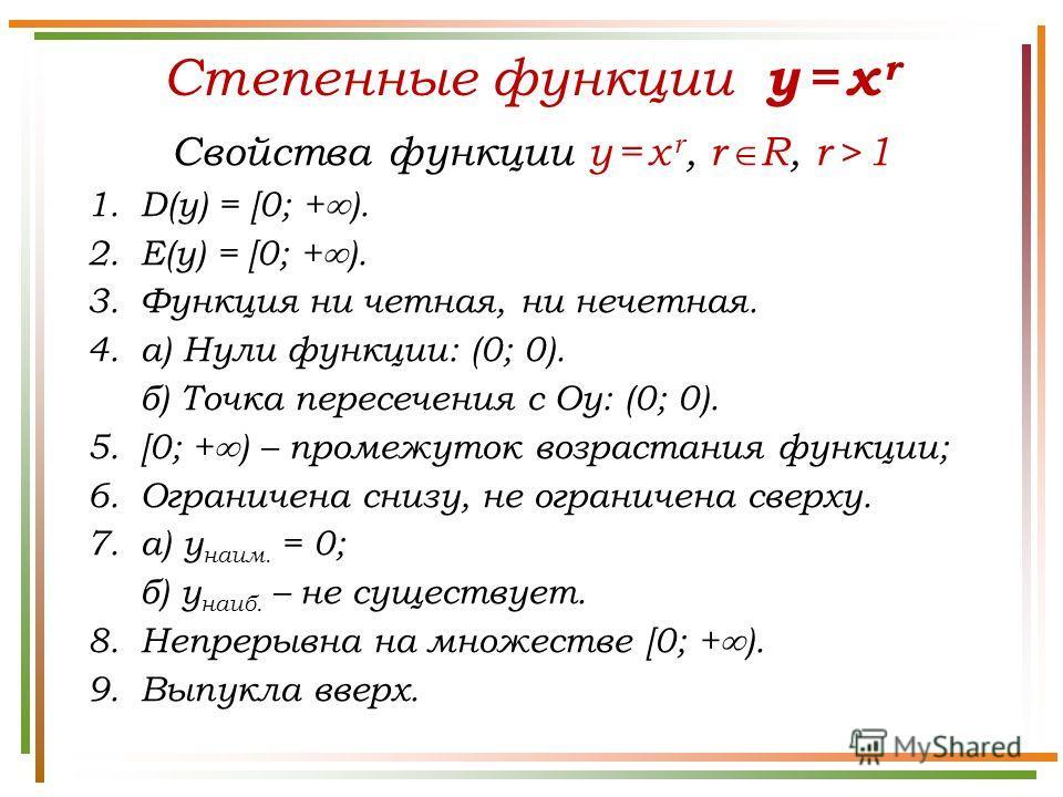 Степенные функции y = x r Свойства функции y = x r, r R, r > 1 1.D(у) = [0; + ). 2.E(у) = [0; + ). 3. Функция ни четная, ни нечетная. 4.а) Нули функции: (0; 0). б) Точка пересечения с Оу: (0; 0). 5.[0; + ) – промежуток возрастания функции; 6. Огранич