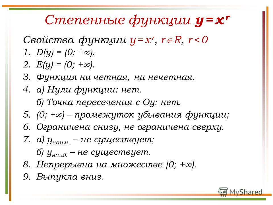 Степенные функции y = x r Свойства функции y = x r, r R, r < 0 1.D(у) = (0; + ). 2.E(у) = (0; + ). 3. Функция ни четная, ни нечетная. 4.а) Нули функции: нет. б) Точка пересечения с Оу: нет. 5.(0; + ) – промежуток убывания функции; 6. Ограничена снизу