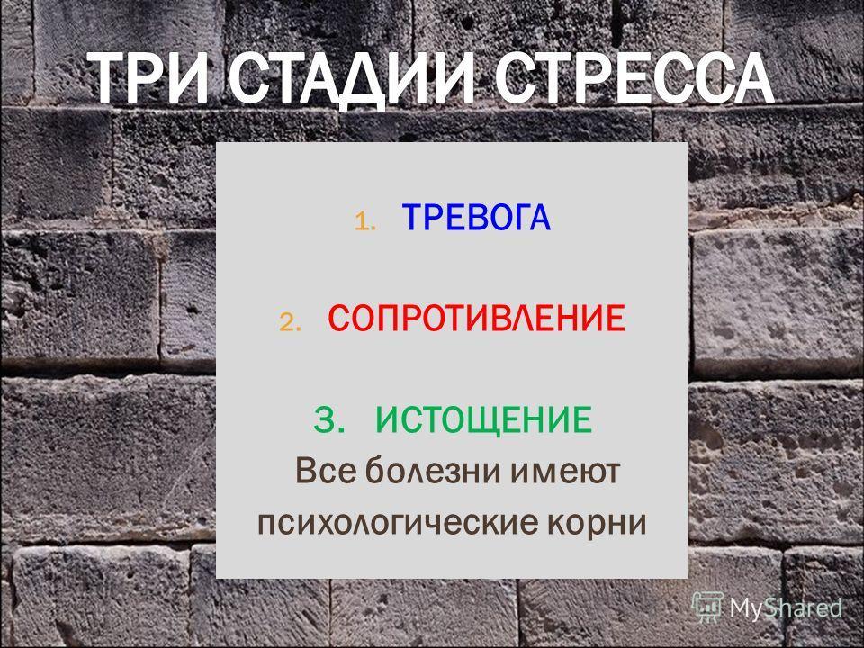 1. ТРЕВОГА 2. СОПРОТИВЛЕНИЕ 3. ИСТОЩЕНИЕ Все болезни имеют психологические корни