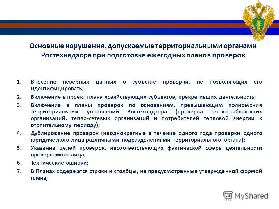 Основные нарушения, допускаемые территориальными органами Ростехнадзора при подготовке ежегодных планов проверок 1. Внесение неверных данных о субъекте проверки, не позволяющих его идентифицировать; 2. Включение в проект плана хозяйствующих субъектов