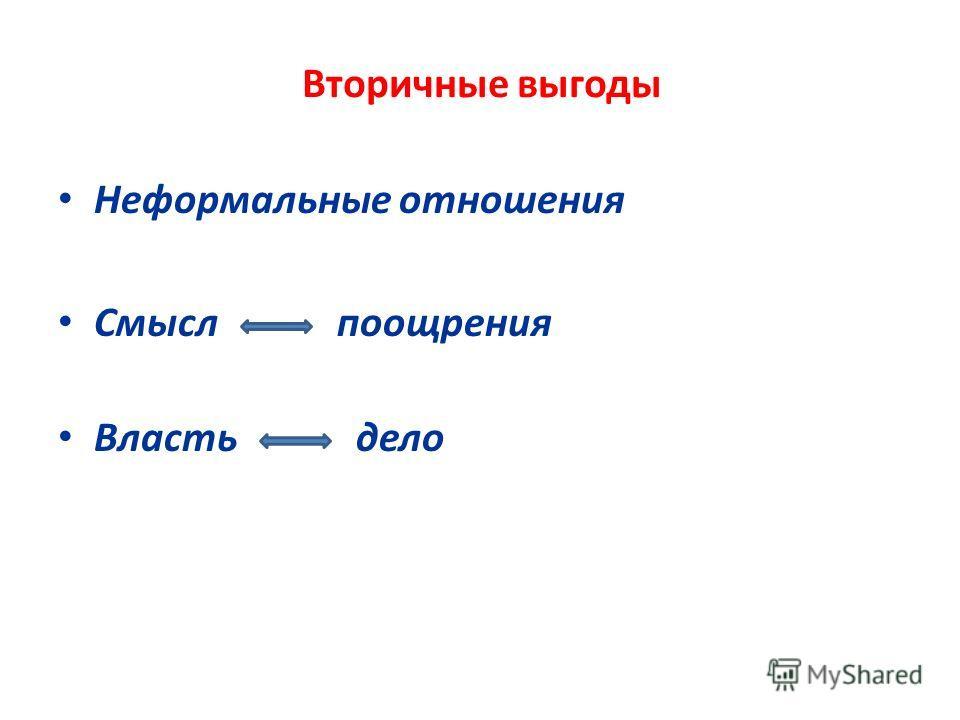 Вторичные выгоды Неформальные отношения Смысл поощрения Власть дело