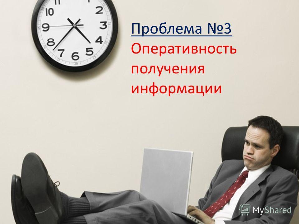 Проблема 3 Оперативность получения информации