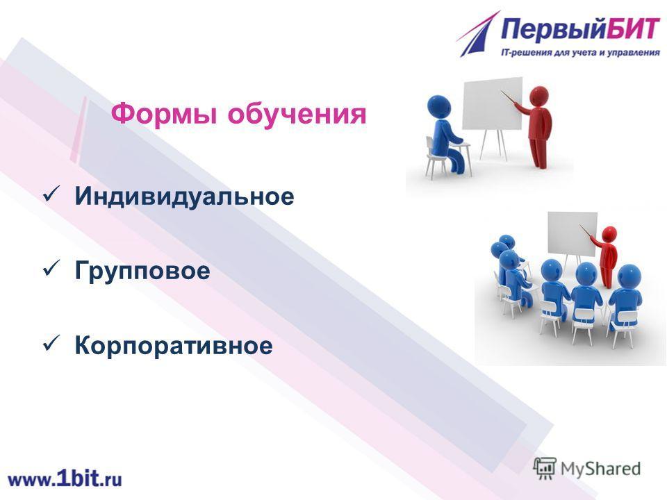 Формы обучения Индивидуальное Групповое Корпоративное