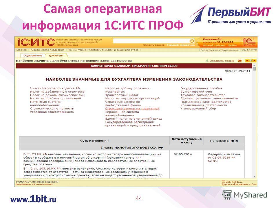 44 Самая оперативная информация 1С:ИТС ПРОФ