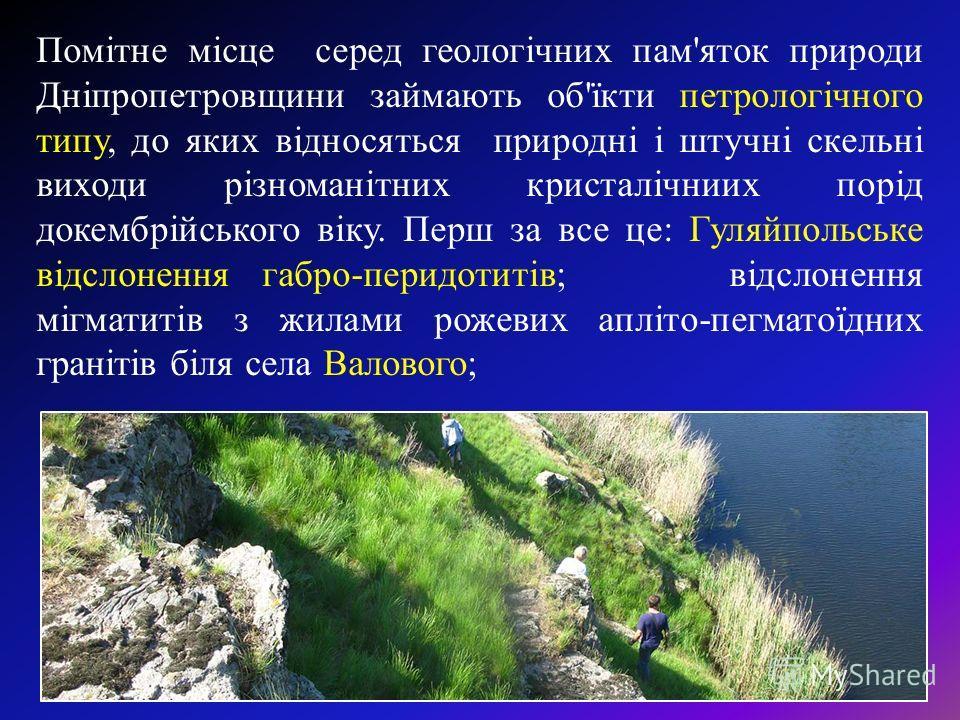 Помітне місце серед геологічних пам'яток природе Дніпропетровщини займають об'їкти петрологічного типу, до яких відносяться природні і штучні скольні выходи різноманітних кристалічниих порід докембрійського віку. Перш за все це: Гуляйпольське відслон