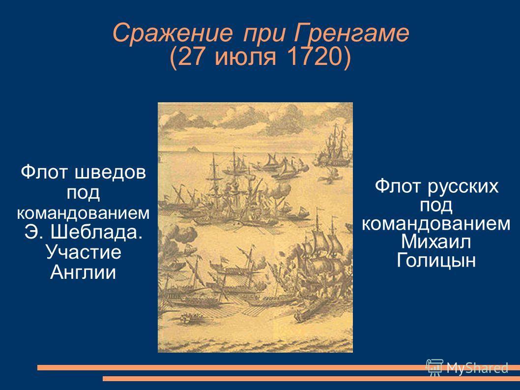 Сражение при Гренгаме (27 июля 1720) Флот шведов под командованием Э. Шеблада. Участие Англии Флот русских под командованием Михаил Голицын