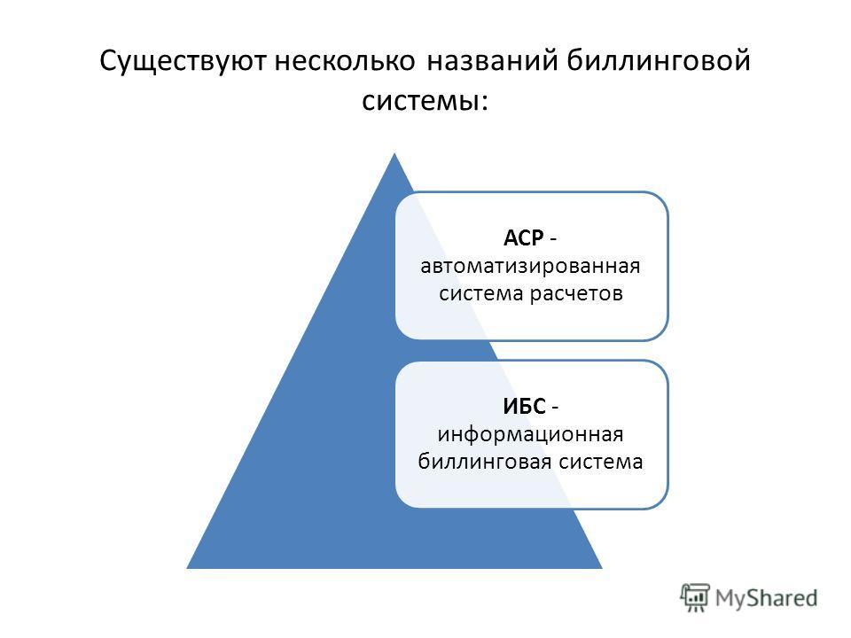Существуют несколько названий биллинговой системы: АСР - автоматизированная система расчетов ИБС - информационная биллинговая система