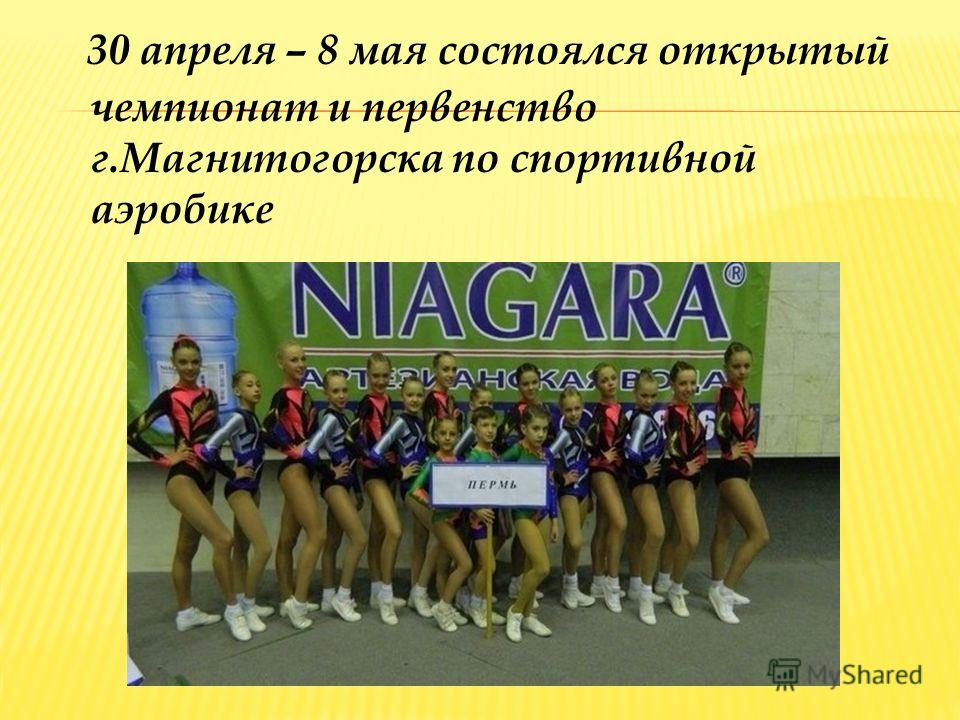 30 апреля – 8 мая состоялся открытый чемпионат и первенство г.Магнитогорска по спортивной аэробике
