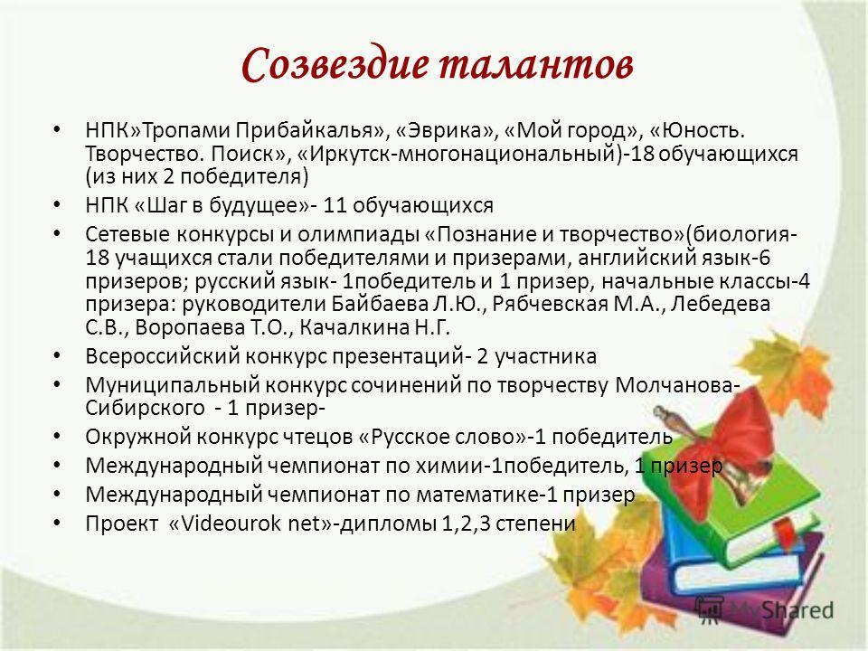 Созвездие талантов НПК»Тропами Прибайкалья», «Эврика», «Мой город», «Юность. Творчество. Поиск», «Иркутск-многонациональный)-18 обучающихся (из них 2 победителя) НПК «Шаг в будущее»- 11 обучающихся Сетевые конкурсы и олимпиады «Познаниме и творчество